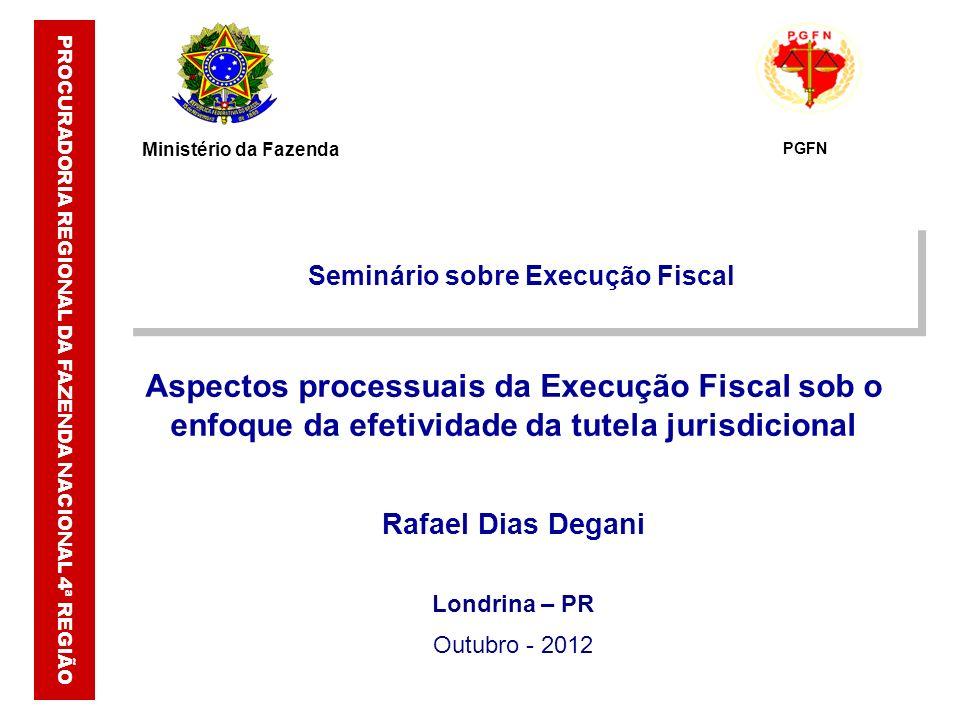Londrina – PR Outubro - 2012 PROCURADORIA REGIONAL DA FAZENDA NACIONAL 4ª REGIÃO Seminário sobre Execução Fiscal Aspectos processuais da Execução Fisc