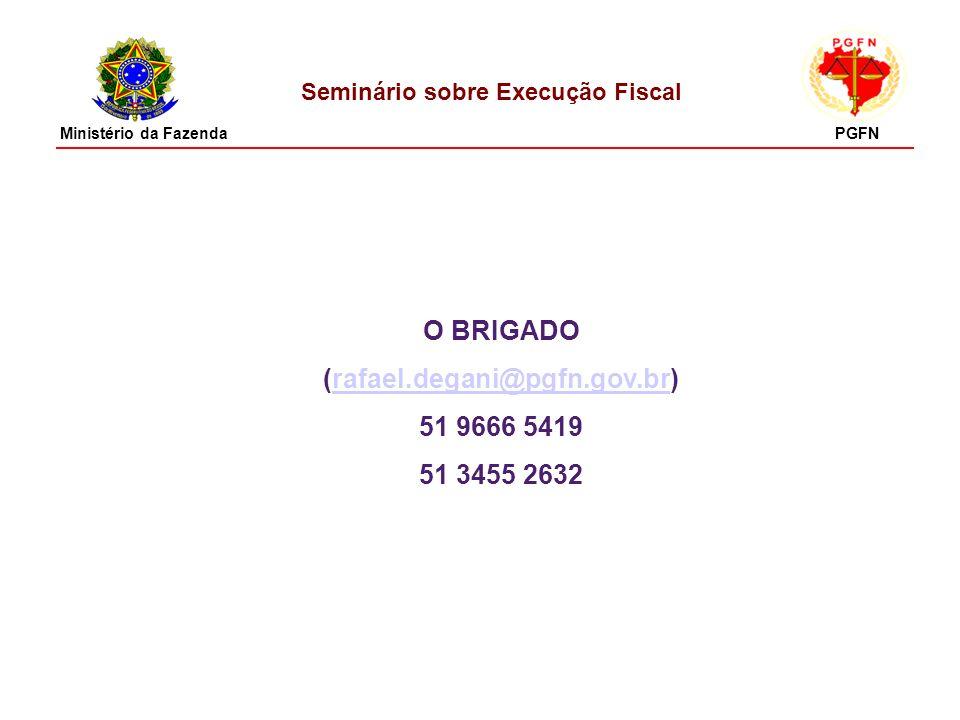 Seminário sobre Execução Fiscal O BRIGADO (rafael.degani@pgfn.gov.br)rafael.degani@pgfn.gov.br 51 9666 5419 51 3455 2632 Ministério da FazendaPGFN
