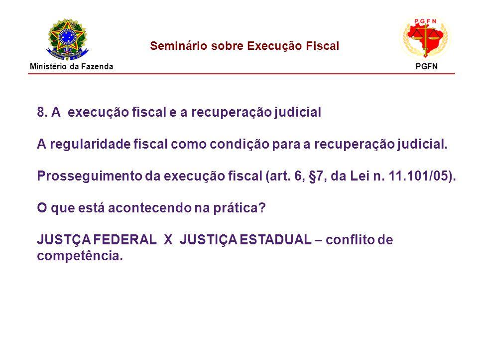 Seminário sobre Execução Fiscal 8. A execução fiscal e a recuperação judicial A regularidade fiscal como condição para a recuperação judicial. Prosseg