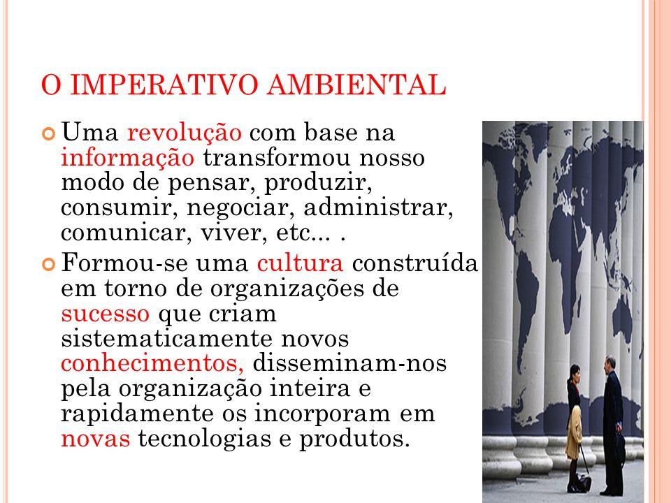 O IMPERATIVO AMBIENTAL Uma revolução com base na informação transformou nosso modo de pensar, produzir, consumir, negociar, administrar, comunicar, vi