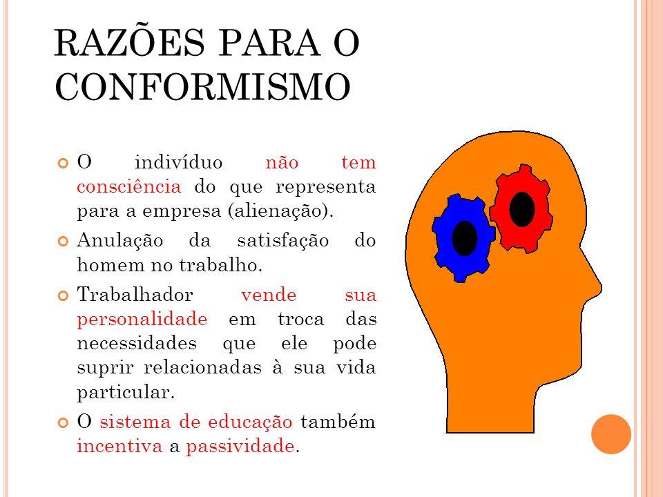 RAZÕES PARA O CONFORMISMO O indivíduo não tem consciência do que representa para a empresa (alienação). Anulação da satisfação do homem no trabalho. T