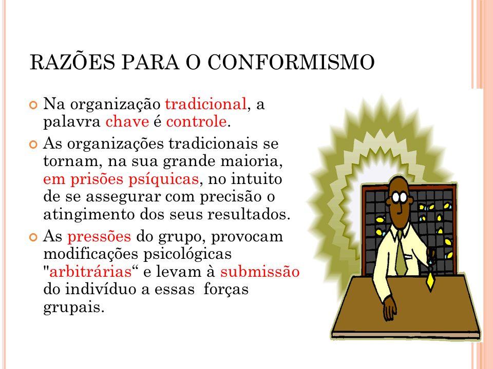 RAZÕES PARA O CONFORMISMO Na organização tradicional, a palavra chave é controle. As organizações tradicionais se tornam, na sua grande maioria, em pr