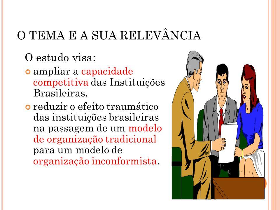 O TEMA E A SUA RELEVÂNCIA O estudo visa: ampliar a capacidade competitiva das Instituições Brasileiras. reduzir o efeito traumático das instituições b
