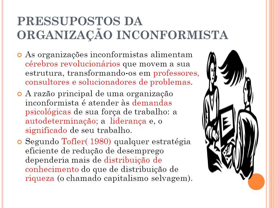 PRESSUPOSTOS DA ORGANIZAÇÃO INCONFORMISTA As organizações inconformistas alimentam cérebros revolucionários que movem a sua estrutura, transformando-o