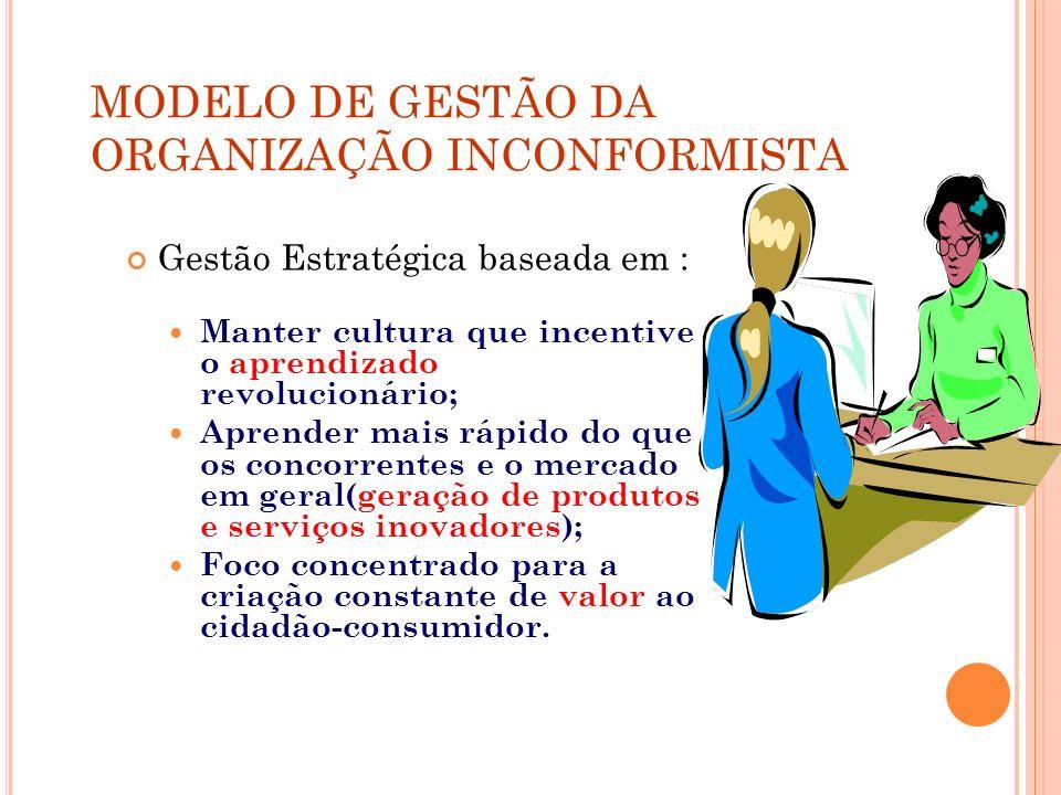 MODELO DE GESTÃO DA ORGANIZAÇÃO INCONFORMISTA Gestão Estratégica baseada em : Manter cultura que incentive o aprendizado revolucionário; Aprender mais
