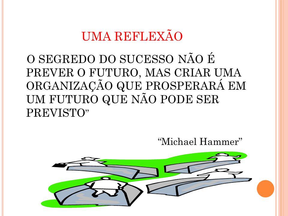 UMA REFLEXÃO O SEGREDO DO SUCESSO NÃO É PREVER O FUTURO, MAS CRIAR UMA ORGANIZAÇÃO QUE PROSPERARÁ EM UM FUTURO QUE NÃO PODE SER PREVISTO Michael Hamme