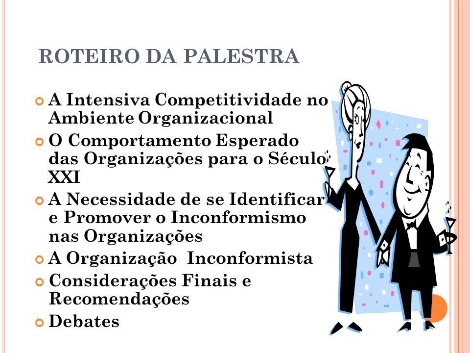ROTEIRO DA PALESTRA A Intensiva Competitividade no Ambiente Organizacional O Comportamento Esperado das Organizações para o Século XXI A Necessidade d
