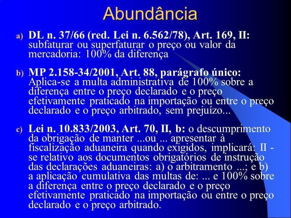 Abundância a) DL n. 37/66 (red. Lei n. 6.562/78), Art. 169, II: subfaturar ou superfaturar o preço ou valor da mercadoria: 100% da diferença b) MP 2.1