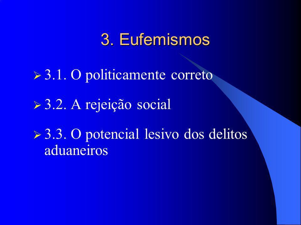 3. Eufemismos 3.1. O politicamente correto 3.2. A rejeição social 3.3. O potencial lesivo dos delitos aduaneiros