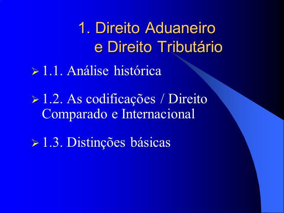 1. Direito Aduaneiro e Direito Tributário 1.1. Análise histórica 1.2. As codificações / Direito Comparado e Internacional 1.3. Distinções básicas