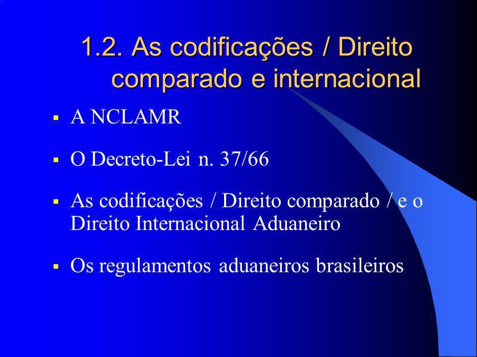 1.2. As codificações / Direito comparado e internacional A NCLAMR O Decreto-Lei n. 37/66 As codificações / Direito comparado / e o Direito Internacion