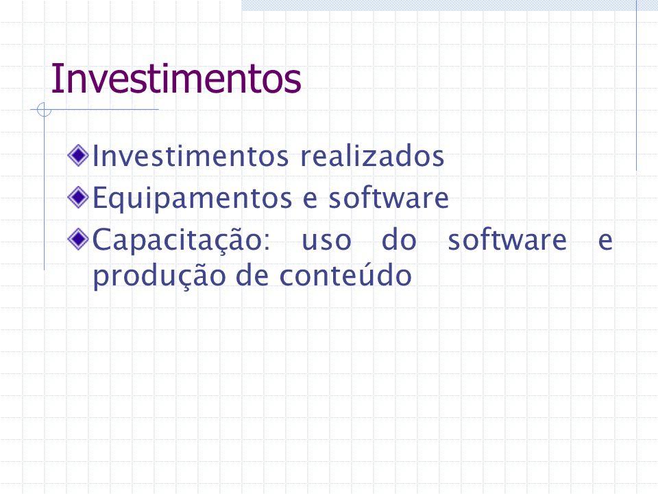 Investimentos Investimentos realizados Equipamentos e software Capacitação: uso do software e produção de conteúdo