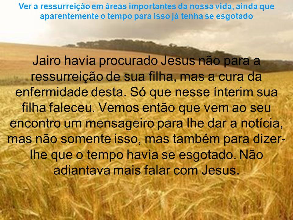 Jairo havia procurado Jesus não para a ressurreição de sua filha, mas a cura da enfermidade desta. Só que nesse ínterim sua filha faleceu. Vemos então