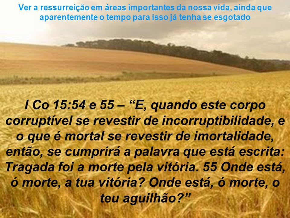 I Co 15:54 e 55 – E, quando este corpo corruptível se revestir de incorruptibilidade, e o que é mortal se revestir de imortalidade, então, se cumprirá