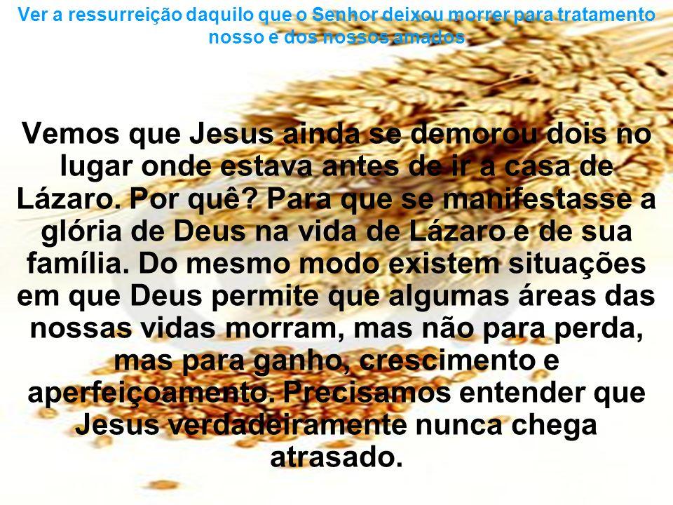 Vemos que Jesus ainda se demorou dois no lugar onde estava antes de ir a casa de Lázaro. Por quê? Para que se manifestasse a glória de Deus na vida de
