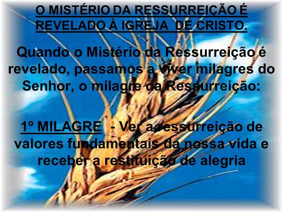 O MISTÉRIO DA RESSURREIÇÃO É REVELADO À IGREJA DE CRISTO. Quando o Mistério da Ressurreição é revelado, passamos a viver milagres do Senhor, o milagre