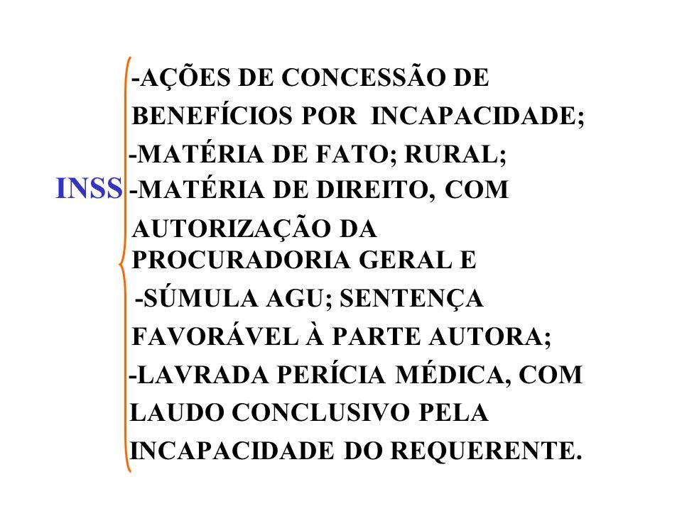 -AÇÕES DE CONCESSÃO DE BENEFÍCIOS POR INCAPACIDADE; -MATÉRIA DE FATO; RURAL; INSS -MATÉRIA DE DIREITO, COM AUTORIZAÇÃO DA PROCURADORIA GERAL E -SÚMULA AGU; SENTENÇA FAVORÁVEL À PARTE AUTORA; -LAVRADA PERÍCIA MÉDICA, COM LAUDO CONCLUSIVO PELA INCAPACIDADE DO REQUERENTE.