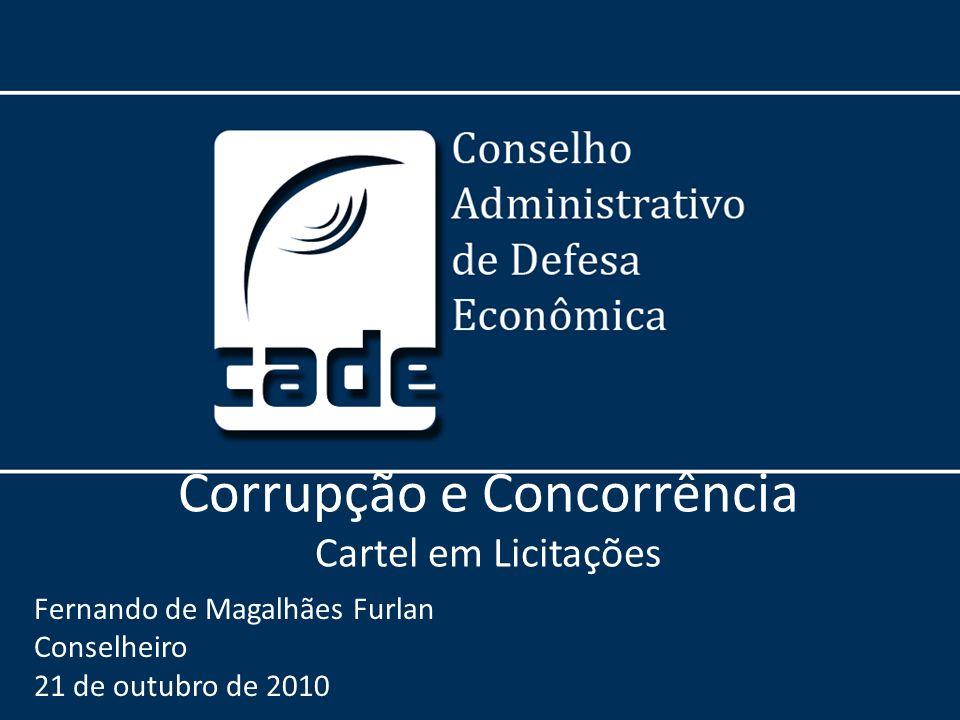 Corrupção e Concorrência Cartel em Licitações Fernando de Magalhães Furlan Conselheiro 21 de outubro de 2010