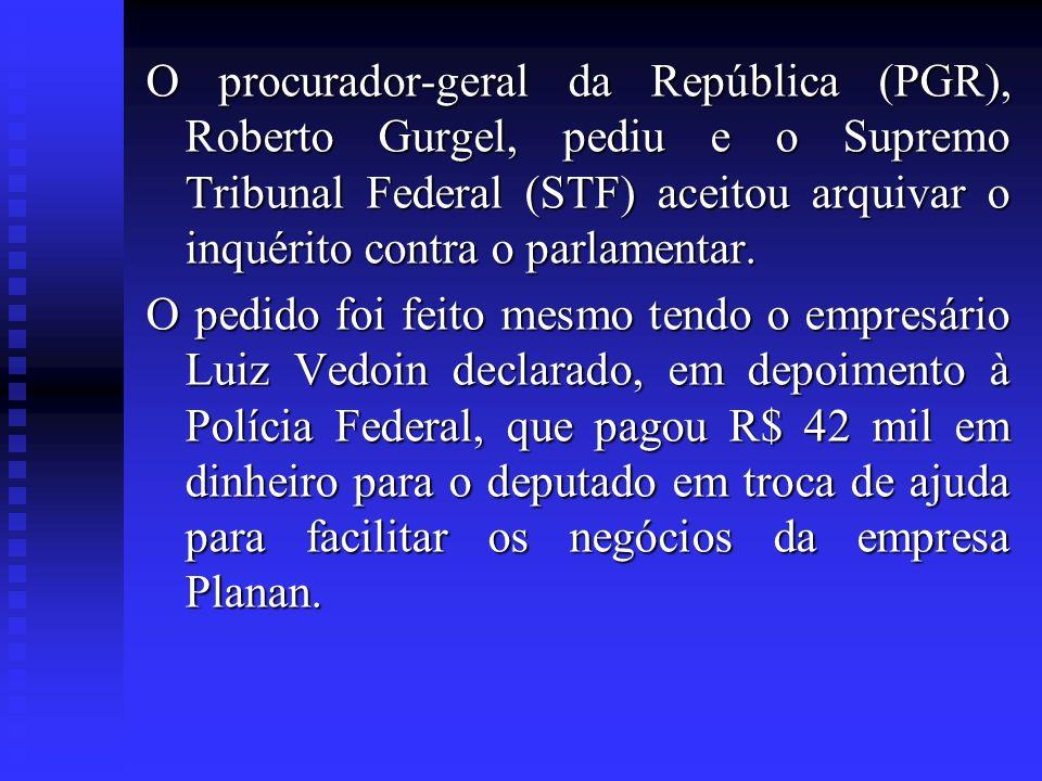 O procurador-geral da República (PGR), Roberto Gurgel, pediu e o Supremo Tribunal Federal (STF) aceitou arquivar o inquérito contra o parlamentar. O p