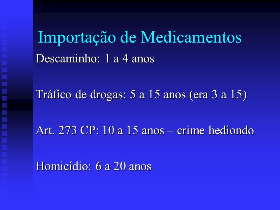 Importação de Medicamentos Descaminho: 1 a 4 anos Tráfico de drogas: 5 a 15 anos (era 3 a 15) Art. 273 CP: 10 a 15 anos – crime hediondo Homicídio: 6