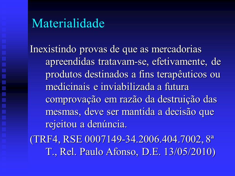 Materialidade Inexistindo provas de que as mercadorias apreendidas tratavam-se, efetivamente, de produtos destinados a fins terapêuticos ou medicinais