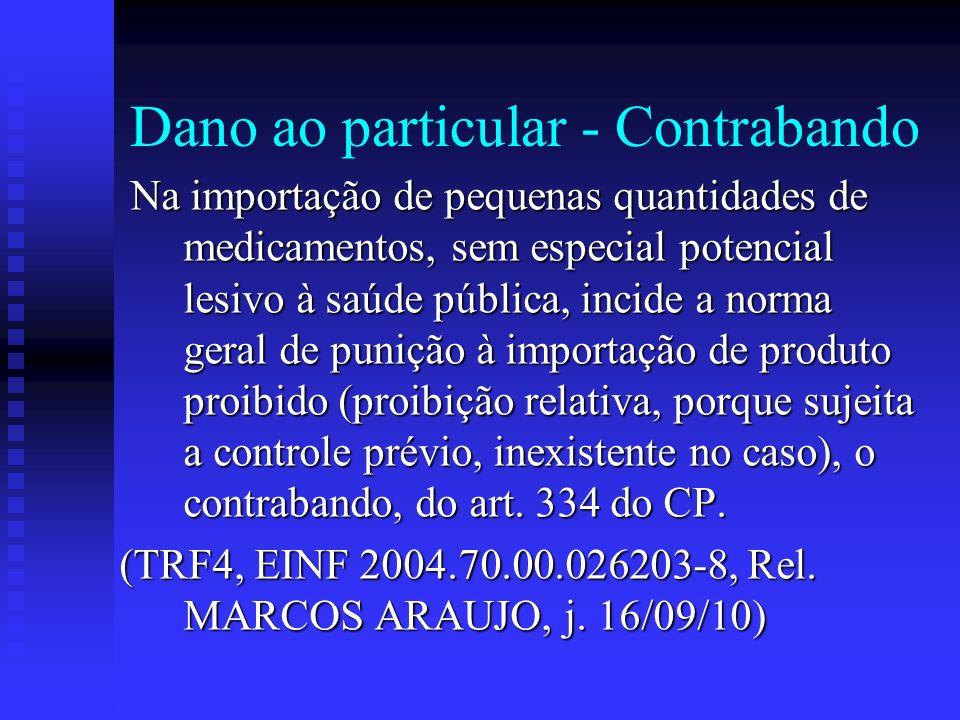 Dano ao particular - Contrabando Na importação de pequenas quantidades de medicamentos, sem especial potencial lesivo à saúde pública, incide a norma