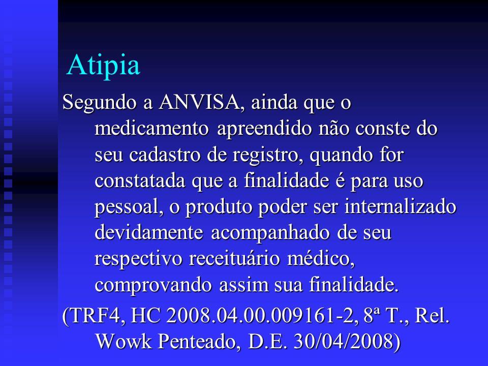 Atipia Segundo a ANVISA, ainda que o medicamento apreendido não conste do seu cadastro de registro, quando for constatada que a finalidade é para uso