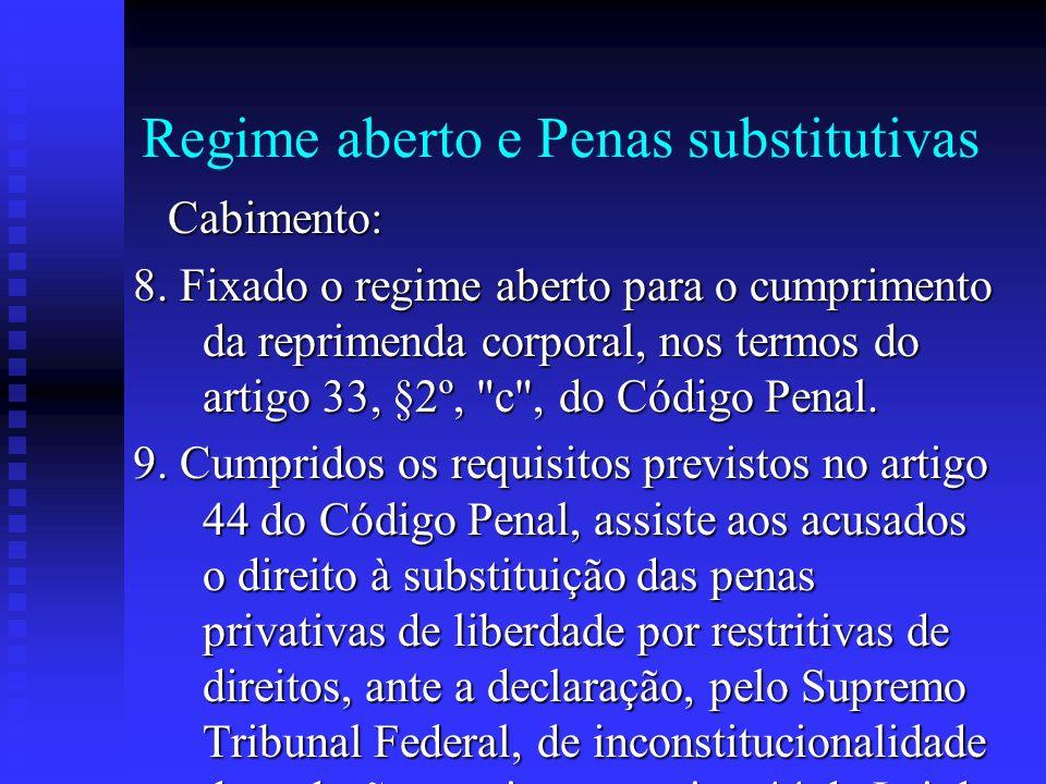 Regime aberto e Penas substitutivas Cabimento: Cabimento: 8. Fixado o regime aberto para o cumprimento da reprimenda corporal, nos termos do artigo 33