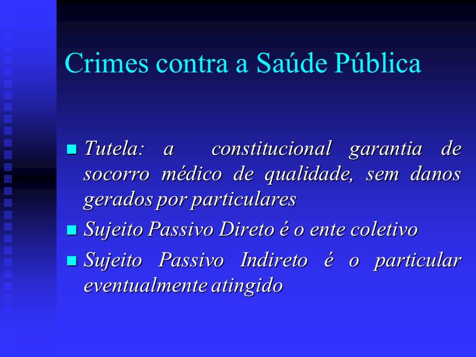 Crimes contra a Saúde Pública Tutela: a constitucional garantia de socorro médico de qualidade, sem danos gerados por particulares Tutela: a constituc