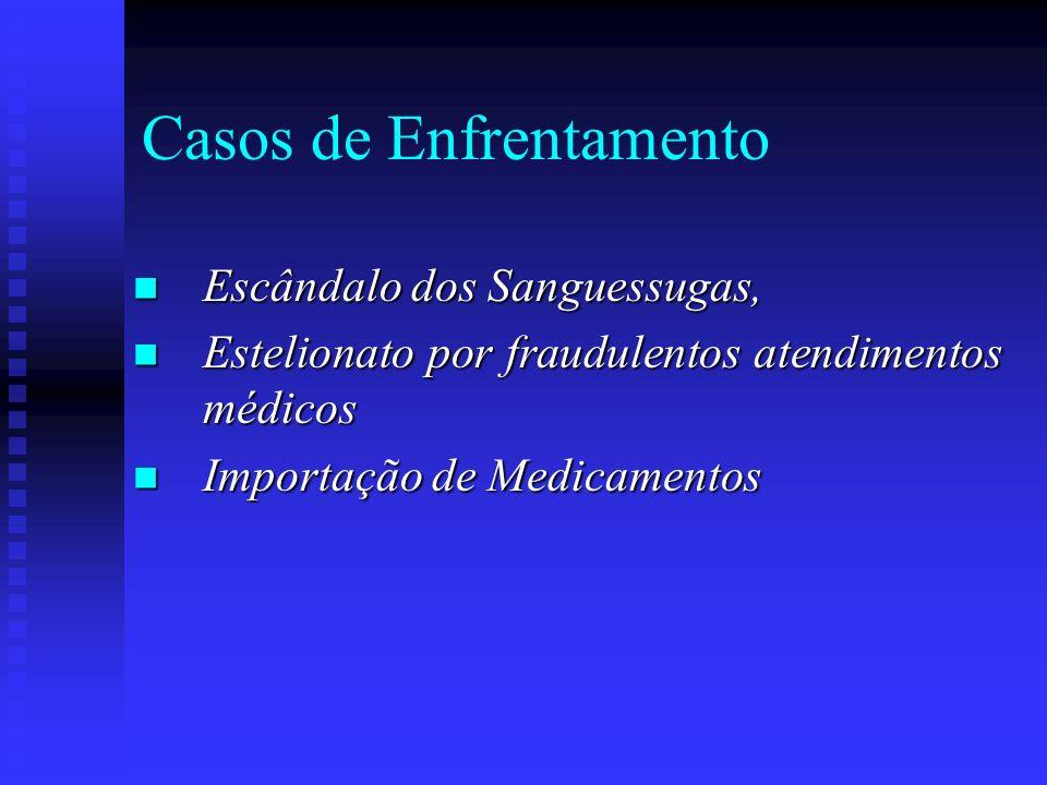 Casos de Enfrentamento Escândalo dos Sanguessugas, Escândalo dos Sanguessugas, Estelionato por fraudulentos atendimentos médicos Estelionato por fraud