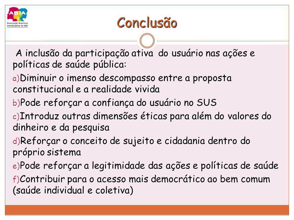Conclusão A inclusão da participação ativa do usuário nas ações e políticas de saúde pública: A inclusão da participação ativa do usuário nas ações e