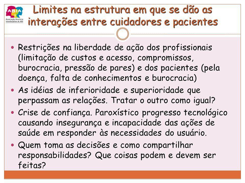 Limites na estrutura em que se dão as interações entre cuidadores e pacientes Restrições na liberdade de ação dos profissionais (limitação de custos e