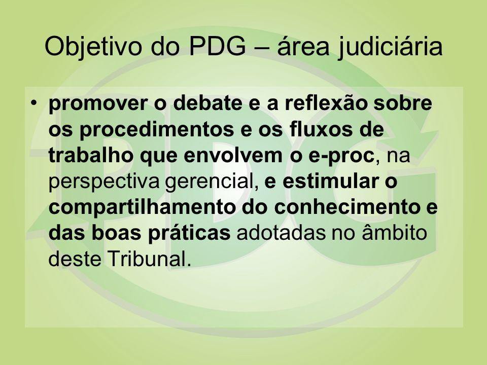 Objetivo do PDG – área judiciária promover o debate e a reflexão sobre os procedimentos e os fluxos de trabalho que envolvem o e-proc, na perspectiva