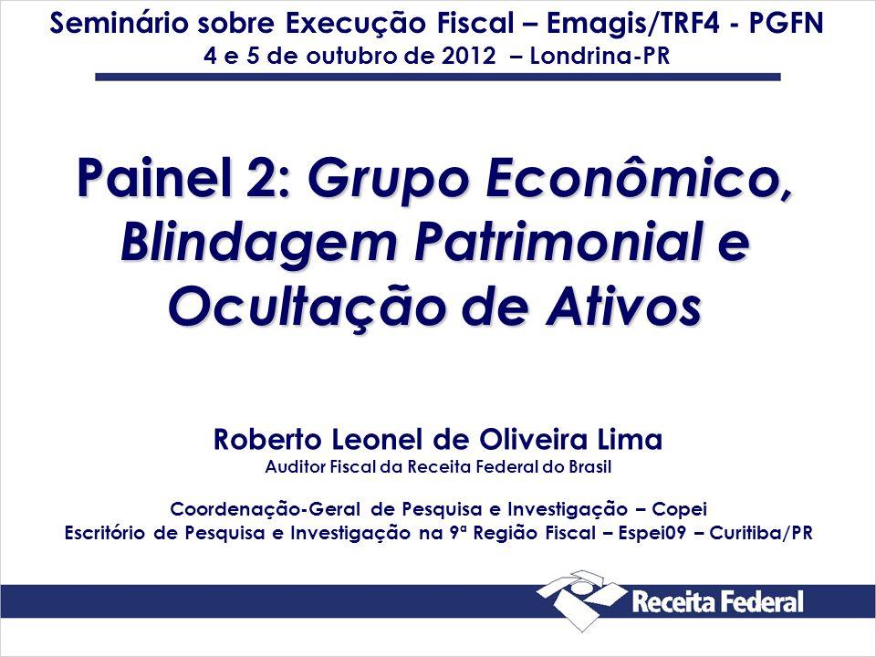 Painel 2: Grupo Econômico, Blindagem Patrimonial e Ocultação de Ativos Seminário sobre Execução Fiscal – Emagis/TRF4 - PGFN 4 e 5 de outubro de 2012 –