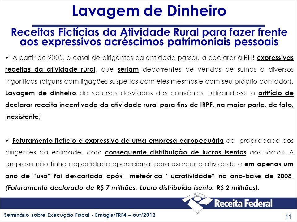 Seminário sobre Execução Fiscal - Emagis/TRF4 – out/2012 11 A partir de 2005, o casal de dirigentes da entidade passou a declarar à RFB expressivas re