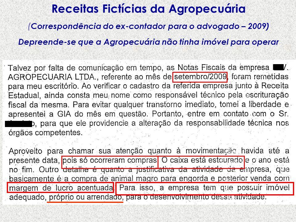 Receitas Fictícias da Agropecuária ( Correspondência do ex-contador para o advogado – 2009) Depreende-se que a Agropecuária não tinha imóvel para oper