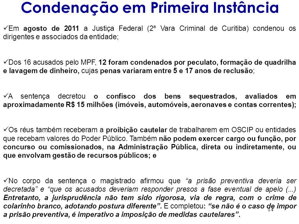 14 Em agosto de 2011 a Justiça Federal (2ª Vara Criminal de Curitiba) condenou os dirigentes e associados da entidade; Dos 16 acusados pelo MPF, 12 fo