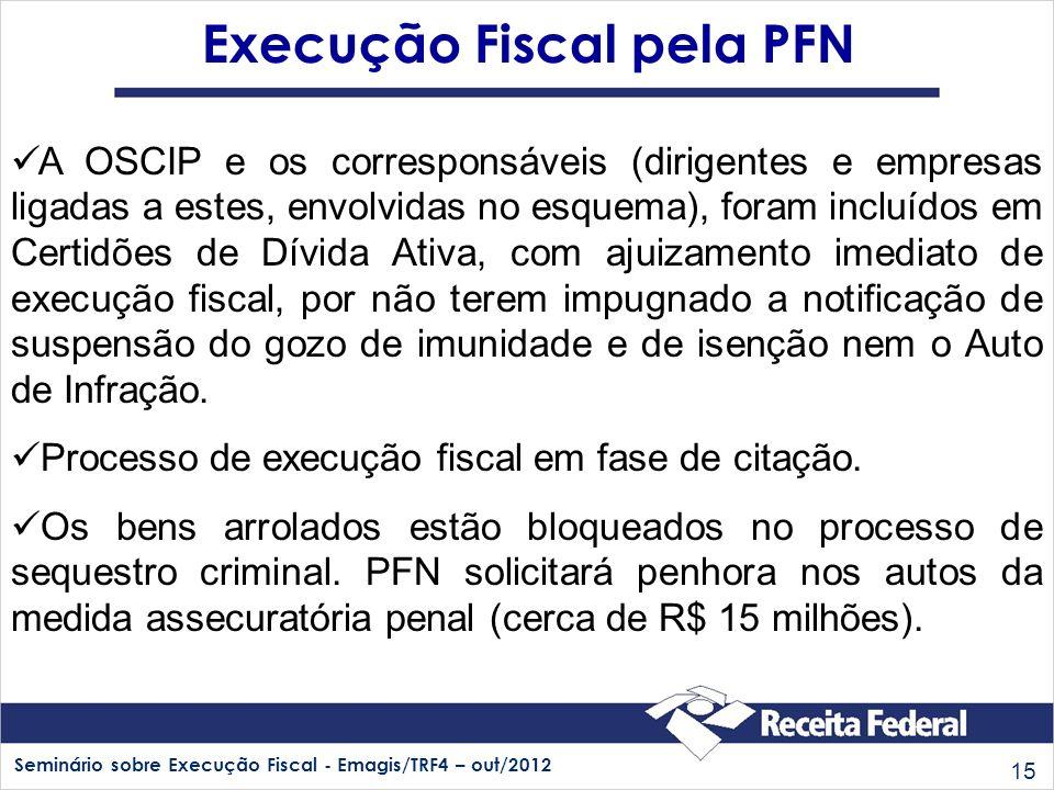 Seminário sobre Execução Fiscal - Emagis/TRF4 – out/2012 15 Execução Fiscal pela PFN A OSCIP e os corresponsáveis (dirigentes e empresas ligadas a est
