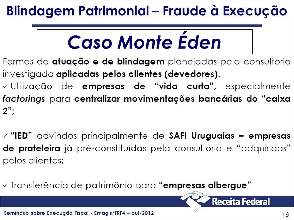 Seminário sobre Execução Fiscal - Emagis/TRF4 – out/2012 16 Caso Monte Éden Blindagem Patrimonial – Fraude à Execução Formas de atuação e de blindagem