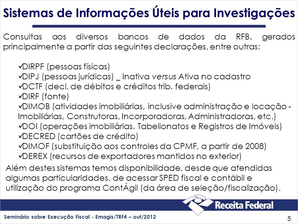Seminário sobre Execução Fiscal - Emagis/TRF4 – out/2012 5 Consultas aos diversos bancos de dados da RFB, gerados principalmente a partir das seguinte