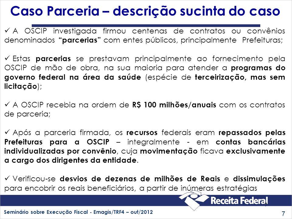 Seminário sobre Execução Fiscal - Emagis/TRF4 – out/2012 7 7 Caso Parceria – descrição sucinta do caso A OSCIP investigada firmou centenas de contrato
