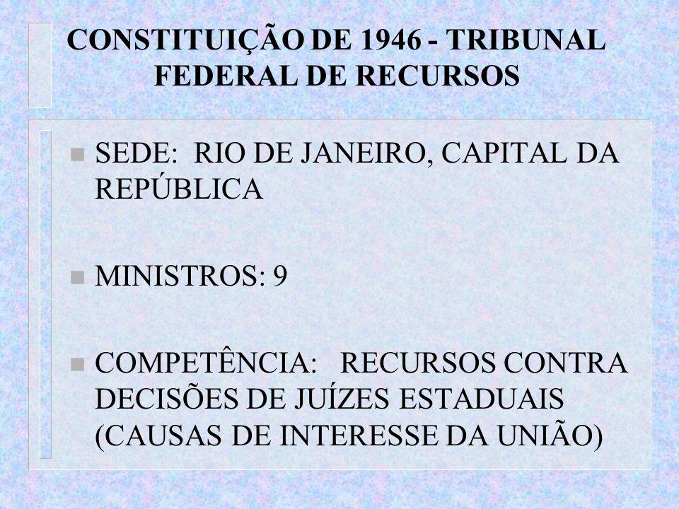 CONSTITUIÇÃO DE 1946 - TRIBUNAL FEDERAL DE RECURSOS n SEDE: RIO DE JANEIRO, CAPITAL DA REPÚBLICA n MINISTROS: 9 n COMPETÊNCIA: RECURSOS CONTRA DECISÕE