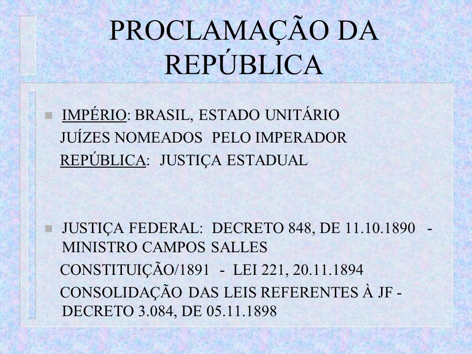 PROCLAMAÇÃO DA REPÚBLICA n IMPÉRIO: BRASIL, ESTADO UNITÁRIO JUÍZES NOMEADOS PELO IMPERADOR REPÚBLICA: JUSTIÇA ESTADUAL n JUSTIÇA FEDERAL: DECRETO 848,