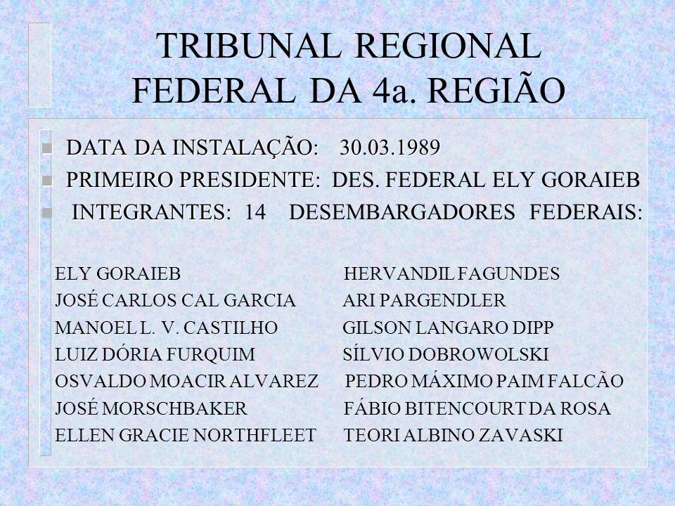 TRIBUNAL REGIONAL FEDERAL DA 4a. REGIÃO n DATA DA INSTALAÇÃO: 30.03.1989 n PRIMEIRO PRESIDENTE n PRIMEIRO PRESIDENTE: DES. FEDERAL ELY GORAIEB INTEGRA