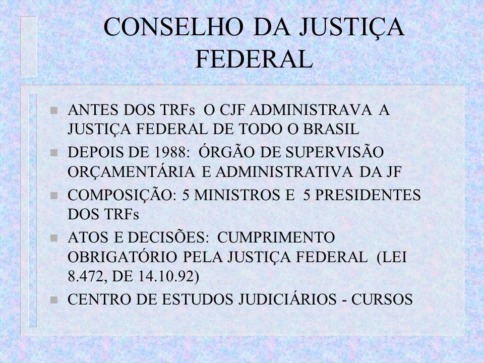 CONSELHO DA JUSTIÇA FEDERAL n ANTES DOS TRFs O CJF ADMINISTRAVA A JUSTIÇA FEDERAL DE TODO O BRASIL n DEPOIS DE 1988: ÓRGÃO DE SUPERVISÃO ORÇAMENTÁRIA