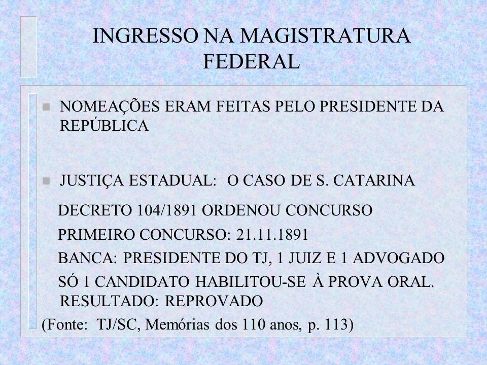 INGRESSO NA MAGISTRATURA FEDERAL n NOMEAÇÕES ERAM FEITAS PELO PRESIDENTE DA REPÚBLICA n JUSTIÇA ESTADUAL: O CASO DE S. CATARINA DECRETO 104/1891 ORDEN