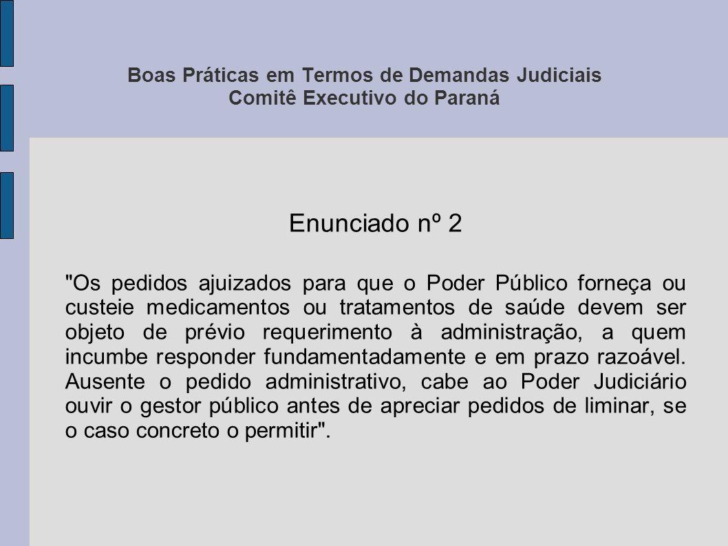 Boas Práticas em Termos de Demandas Judiciais Comitê Executivo do Paraná Enunciado nº 3 A determinação judicial de fornecimento de medicamentos deve observar a existência de registro na ANVISA .