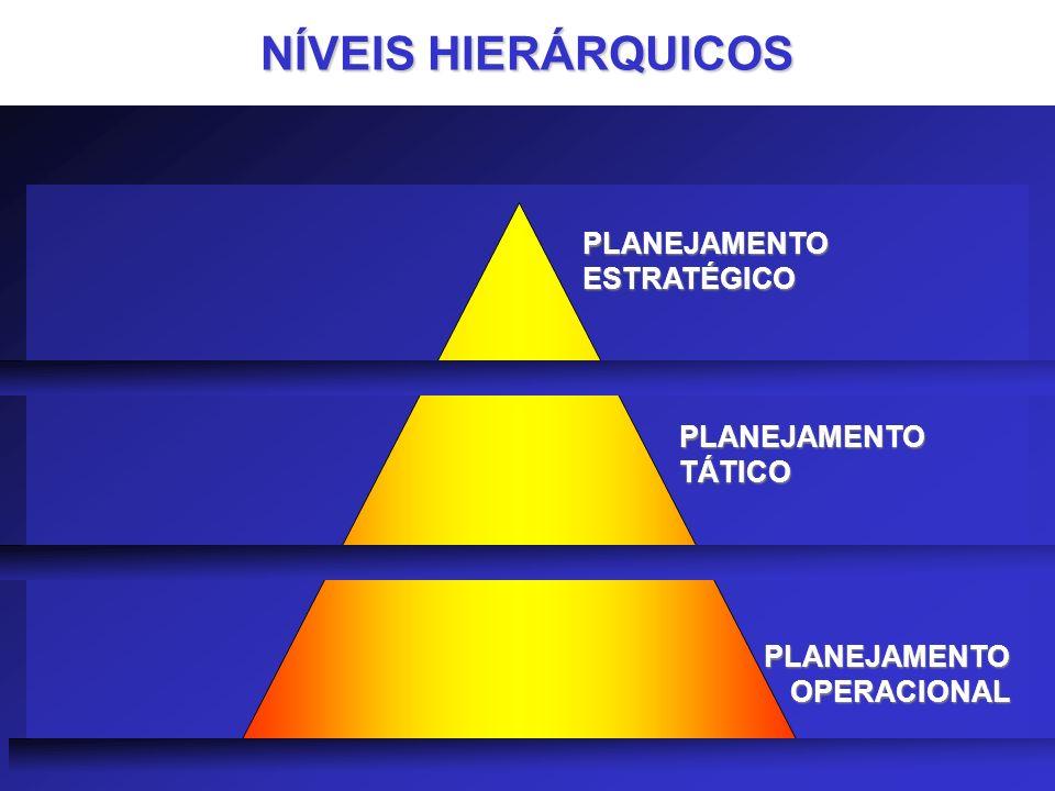 NÍVEIS HIERÁRQUICOS PLANEJAMENTO ESTRATÉGICO PLANEJAMENTO TÁTICO PLANEJAMENTO OPERACIONAL