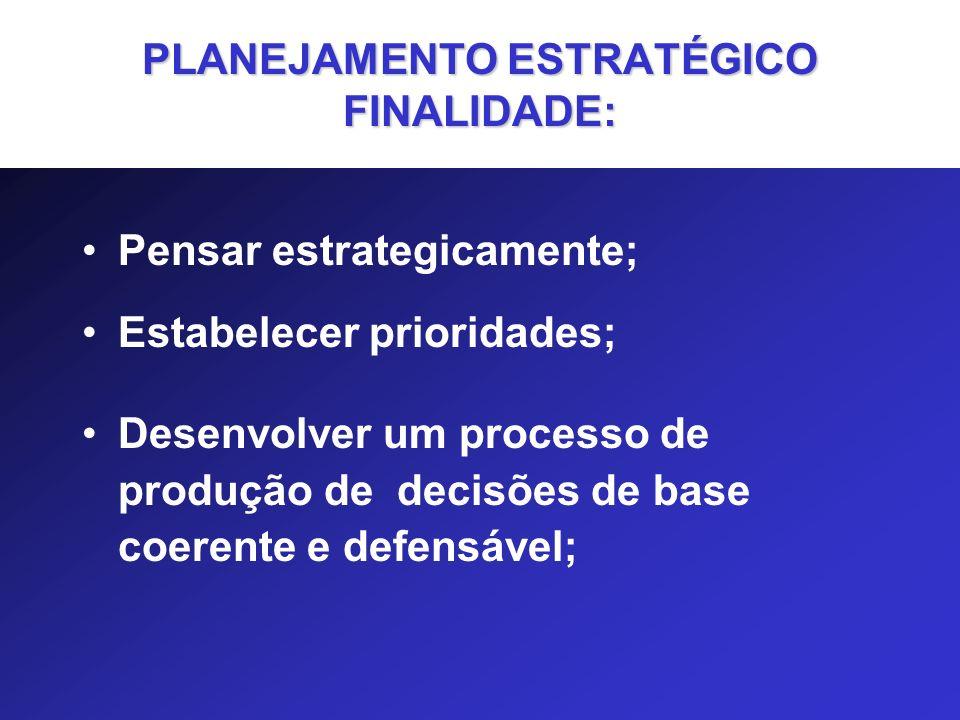 PLANEJAMENTO ESTRATÉGICO FINALIDADE: Pensar estrategicamente; Estabelecer prioridades; Desenvolver um processo de produção de decisões de base coerent