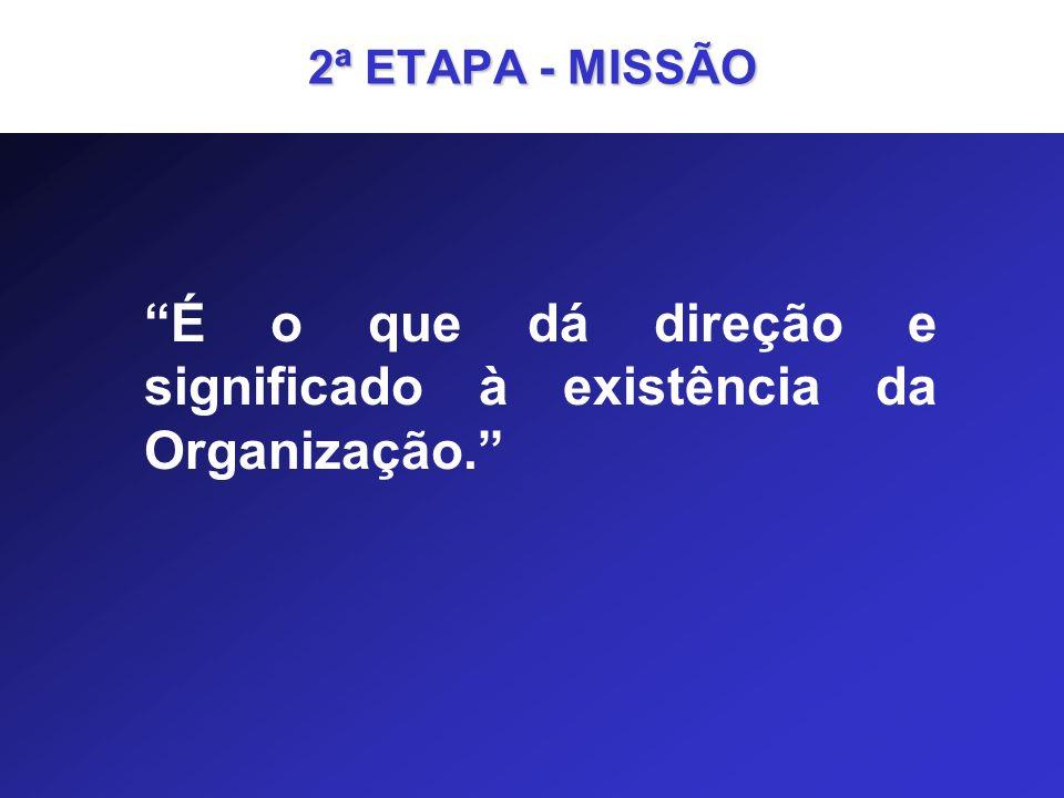 2ª ETAPA - MISSÃO É o que dá direção e significado à existência da Organização.